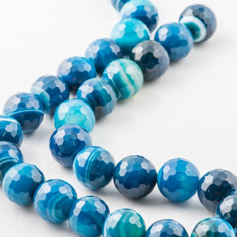 Agat dantela albastru sfere fatetate 12 mm