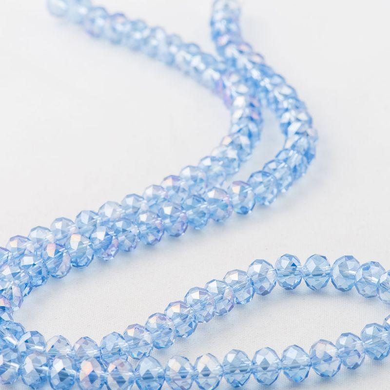 Cristal albastru discuri fatetate 6 mm