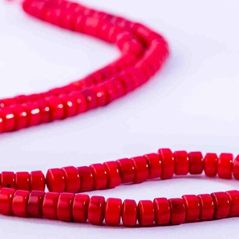 Coral rosu discuri drepte 4x6 mm