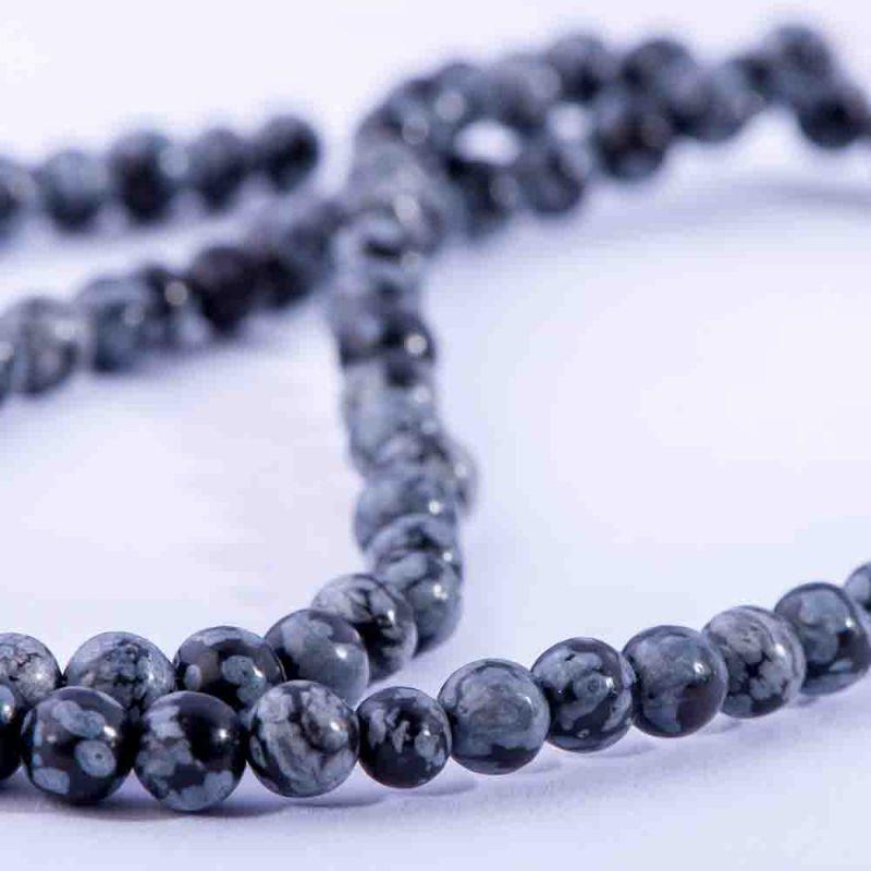Obsidian snowflake sfere 4 mm