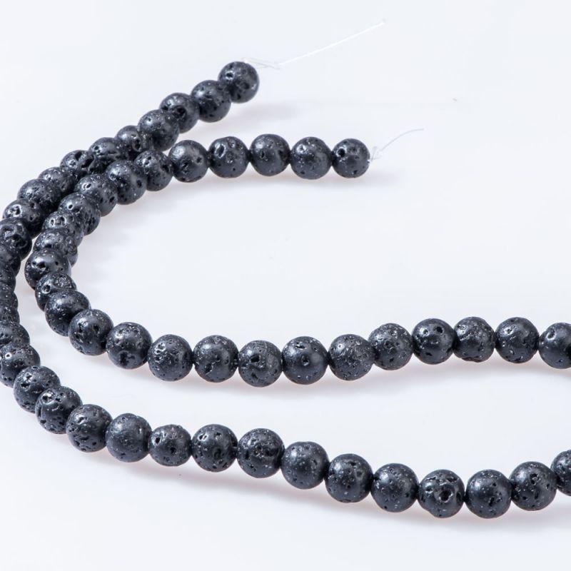 Lava negru sfere 6 mm - magazinuldepietre.ro