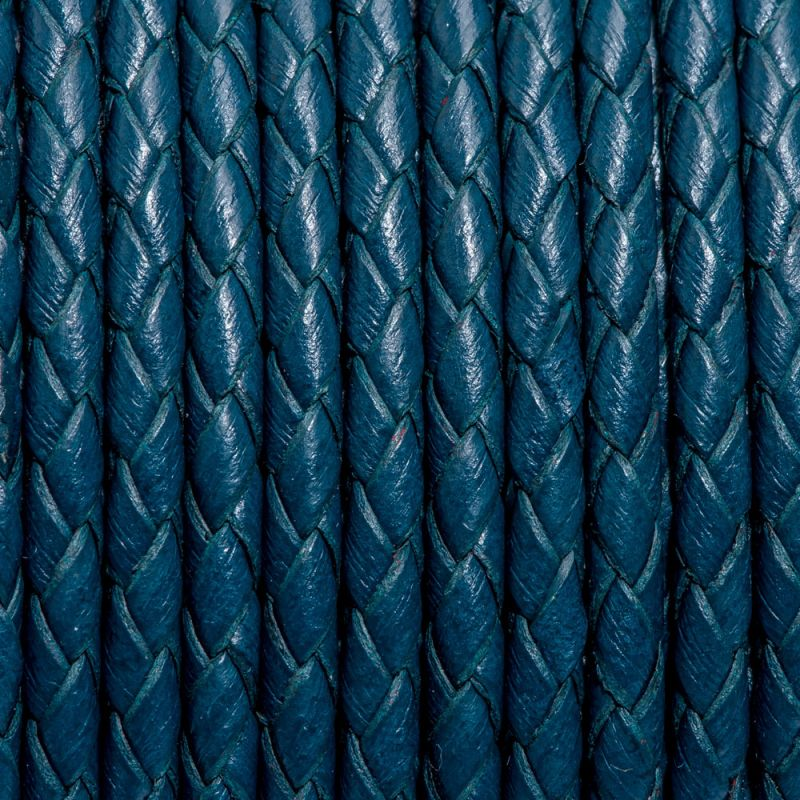 Snur piele impletit rotund 3 mm albastru petrol - 1 m - magazinuldepietre.ro