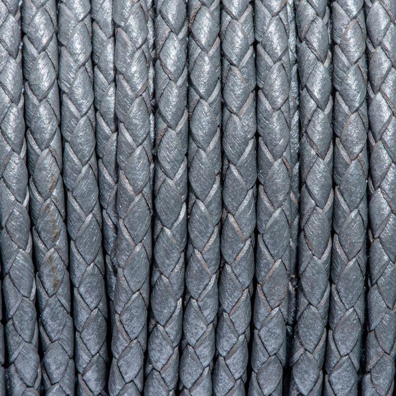 Snur piele impletit rotund 3 mm gri - 1 m - magazinuldepietre.ro