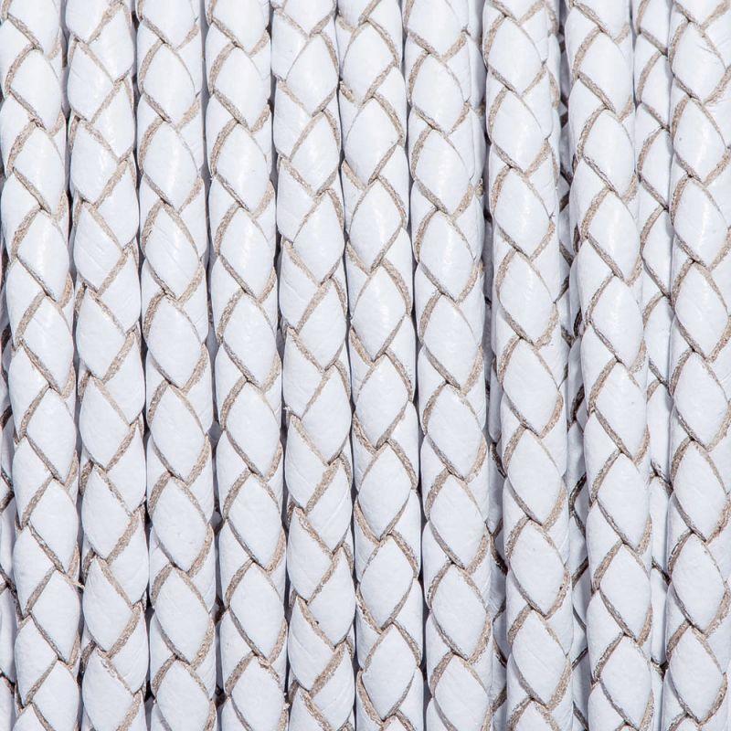 Snur piele impletit rotund 3 mm alb - 1 m - magazinuldepietre.ro