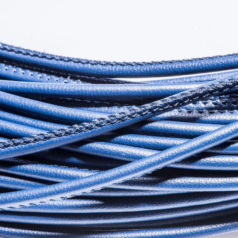 Snur piele ecologica rotund 3 mm bleumarin - 1 m