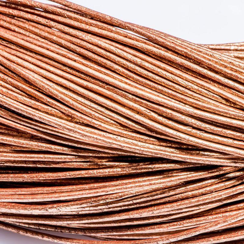 Snur piele rotund 1 mm bronz - 2 m - magazinuldepietre.ro