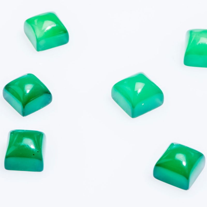 Cabosoane agat verde patrat 8 mm - 5 per