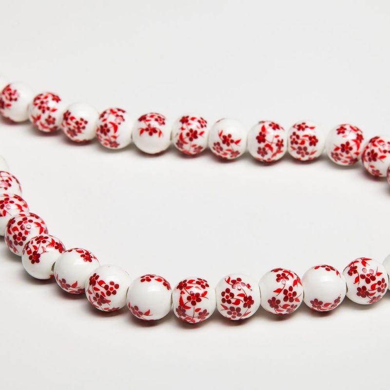 Ceramica flori rosii sfere 10 mm - magazinuldepietre.ro