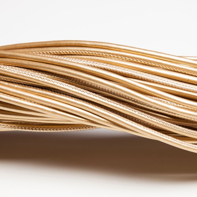 Snur piele ecologica rotund 3 mm auriu - 1 m