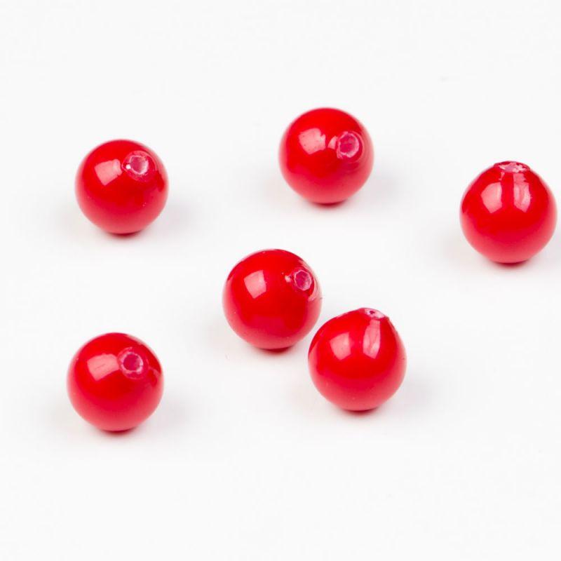 Scoica rosu sfere semiperforate 8 mm - 10 buc - magazinuldepietre.ro