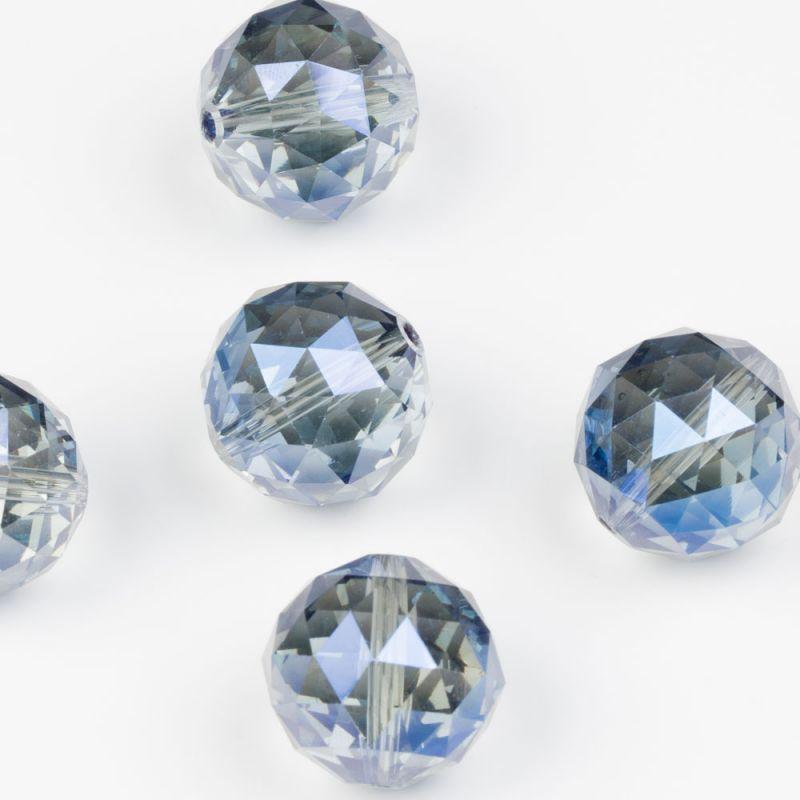 Cristal albastru sfere fatetate 20 mm - 2 buc
