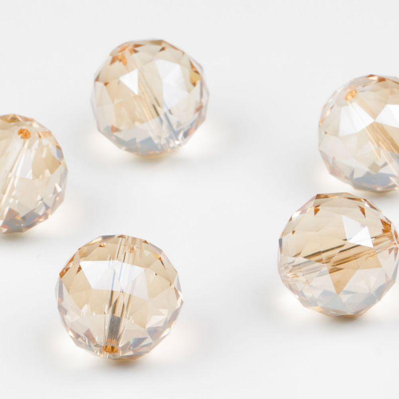 Cristal maro sfere fatetate 20 mm - 2 buc