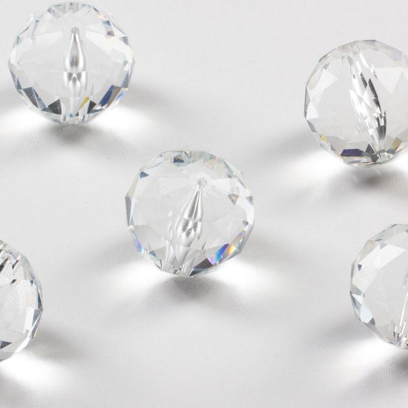 Cristal alb sfere fatetate 30 mm - 1 buc