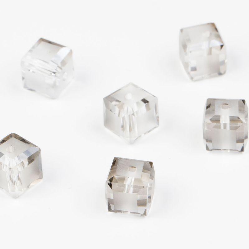 Cristal gri efecte cub cu fatete 10 mm - 10 buc