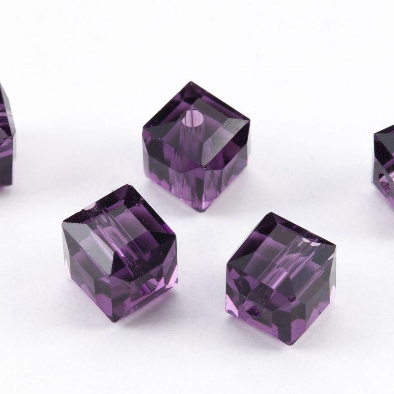Cristal mov cuburi cu fatete 7.5 mm - 20 buc