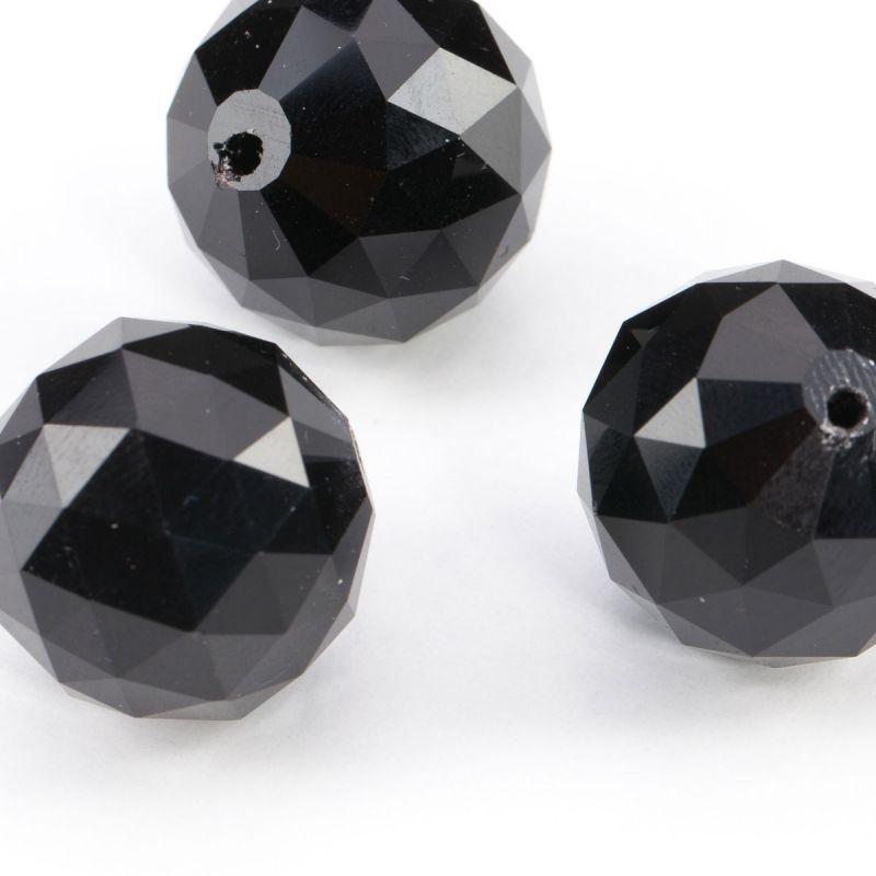 Cristal negru sfere fatetate 20 mm - 2 buc - magazinuldepietre.ro