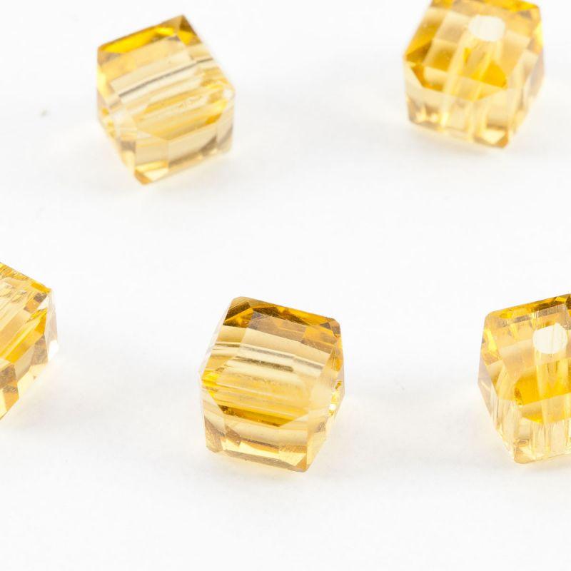 Cristal galben cub cu fatete 6 mm - 20 buc