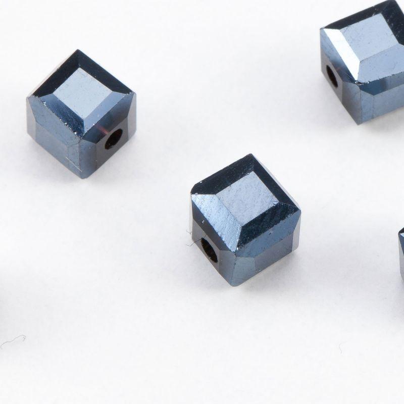 Cristal petrol cub cu fatete 6 mm - 20 buc