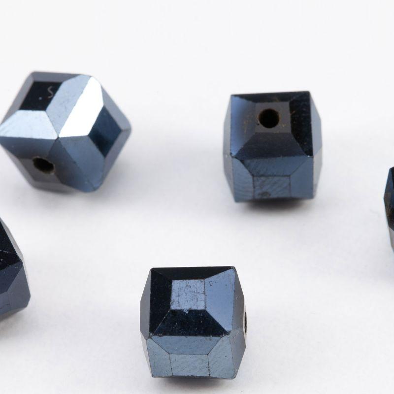 Cristal petrol cub cu fatete 7.5 mm - 20 buc