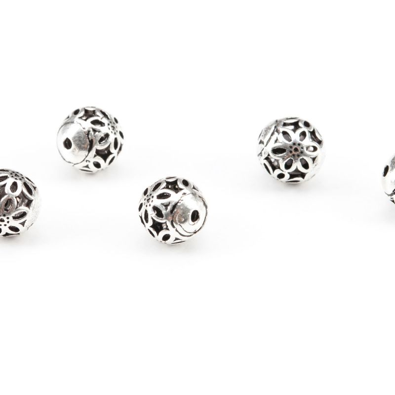 Bile argint model decupat flori 6 petale 8 mm - 1 buc