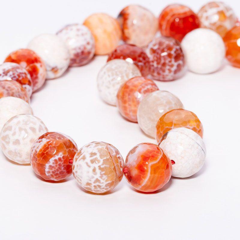 Agat crab fire portocaliu sfere fatetate 16 mm - magazinuldepietre.ro
