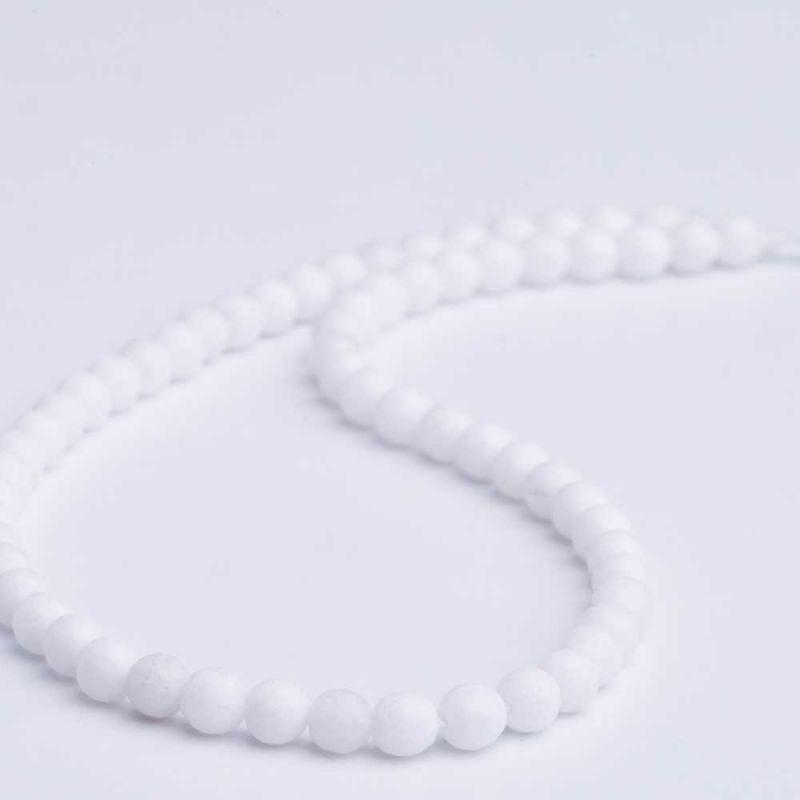 Jad alb sfere fatetate 6 mm