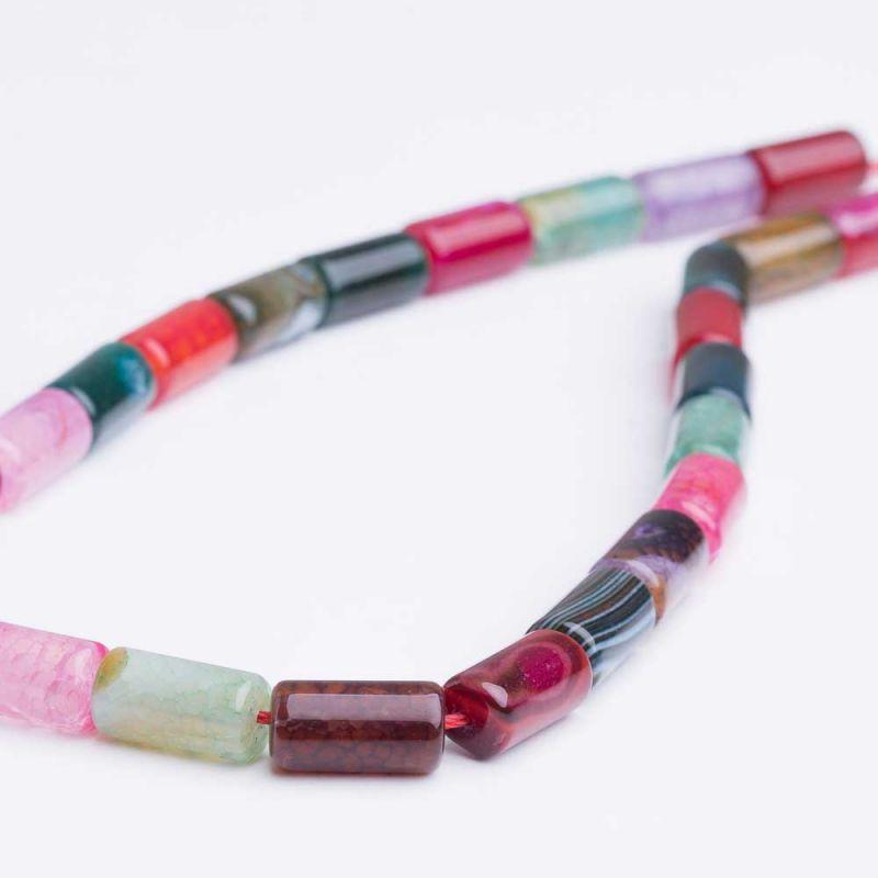 Agat crackle multicolor tuburi 8x15 mm
