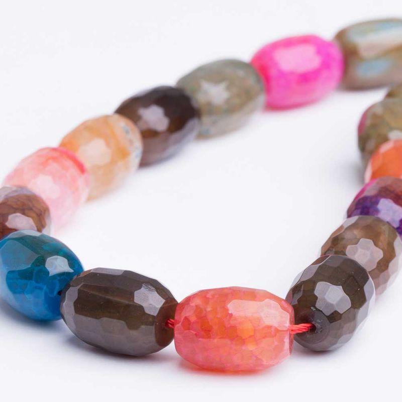 Agat crackle multicolor tuburi fatetate 13x18 mm