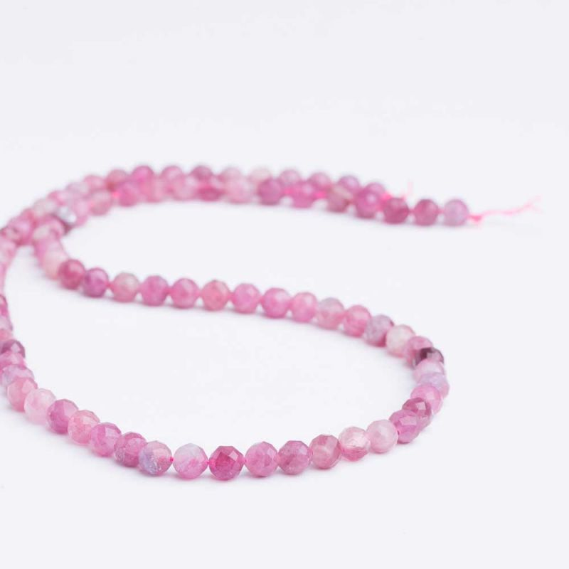 Turmalina roz sfere fatetate 5 mm