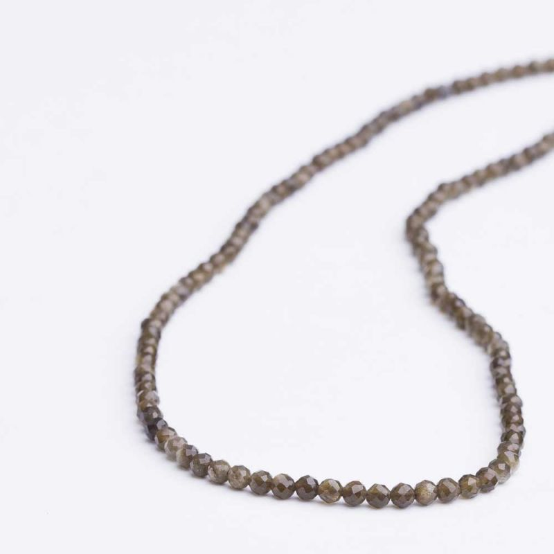 Obsidian auriu sfere fatetate 3 mm