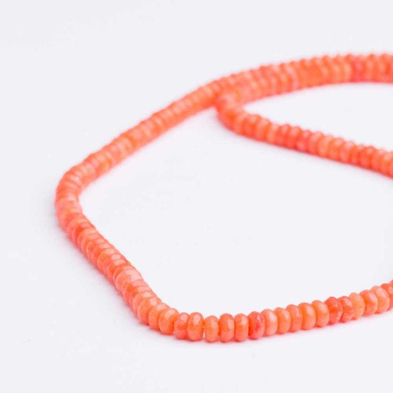 Coral portocaliu discuri fatetate 4 mm - magazinuldepietre.ro