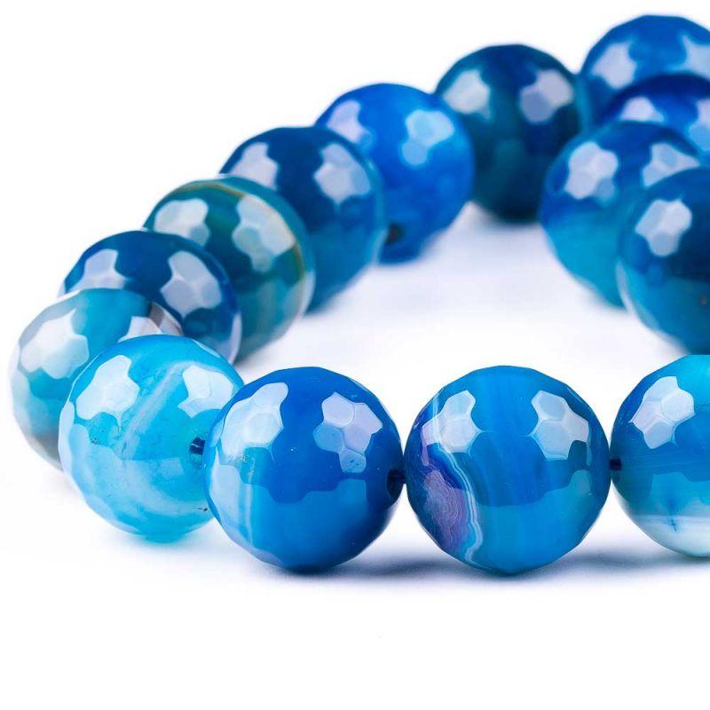 Agat dantela albastru sfere fatetate 20 mm