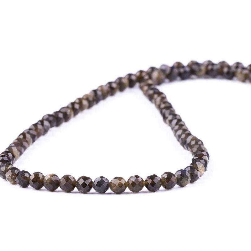 Obsidian auriu sfere fatetate 4.5 mm