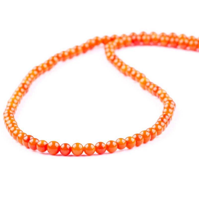 Coral portocaliu sfere 4 mm - magazinuldepietre.ro