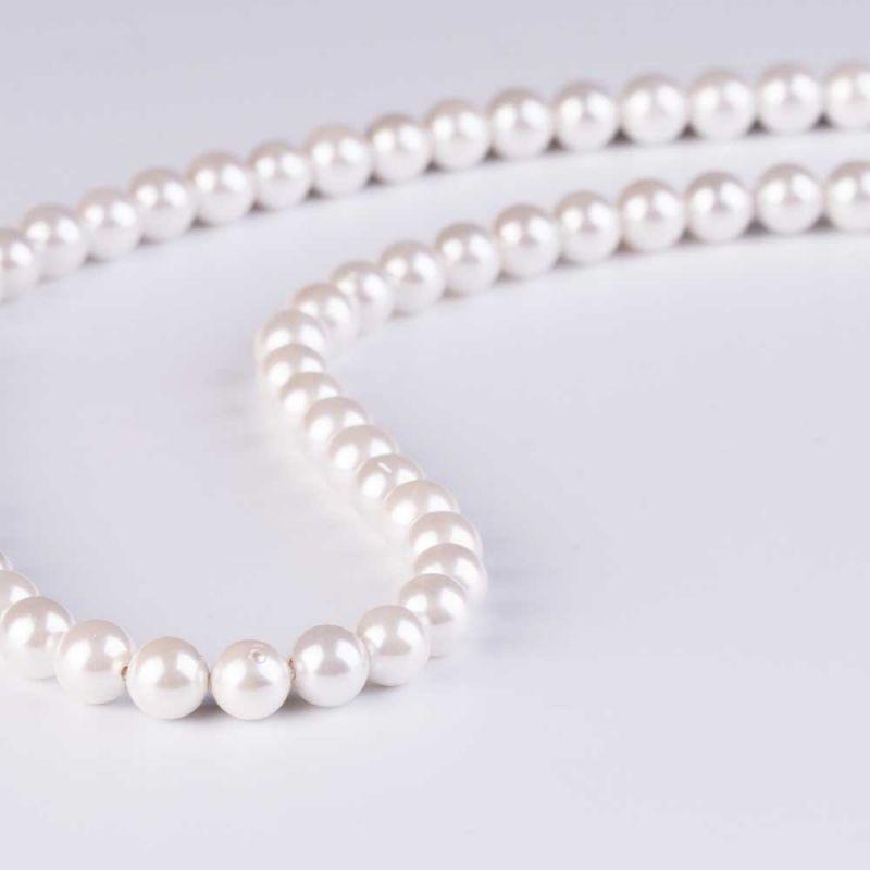 Scoica alb perlat sfere 6 mm