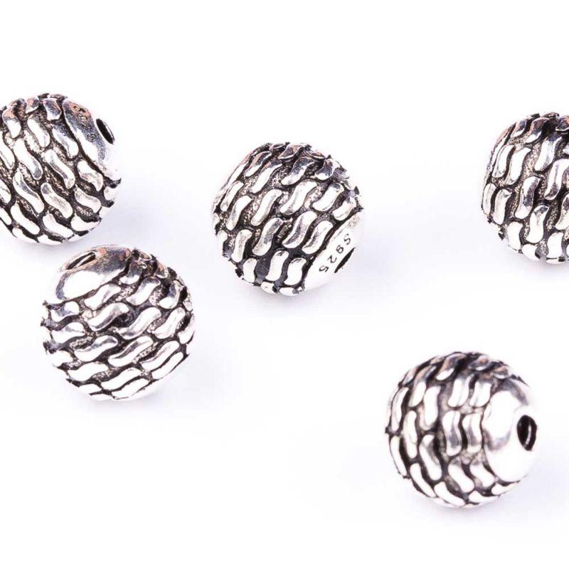 Bile argint liniute 8 mm orificiu 1.5 mm - 1 buc