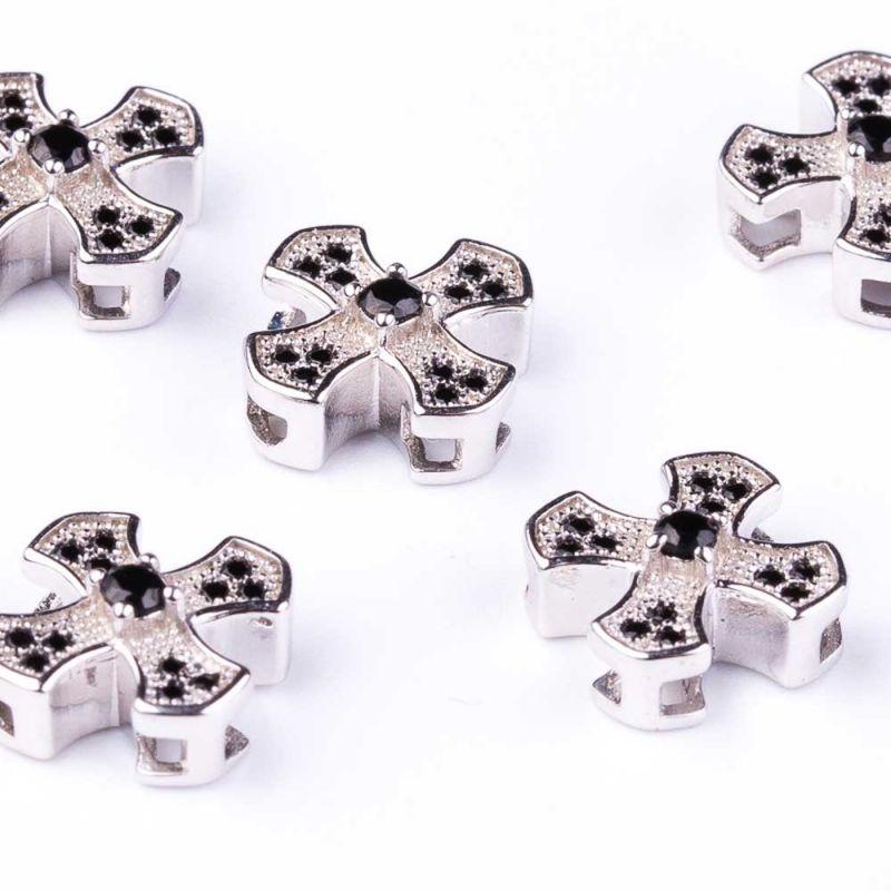 Distantier cruce zirconia negru 10 mm orificiu 1.5 mm - 1 buc