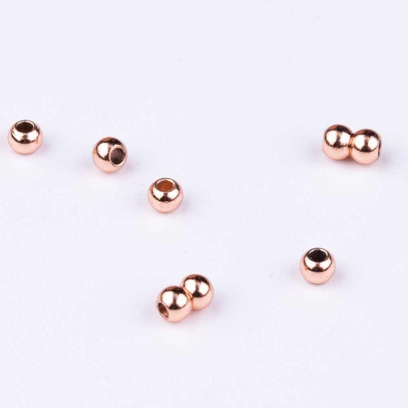 Bile inox 2.4 mm turnate roz - 60 buc