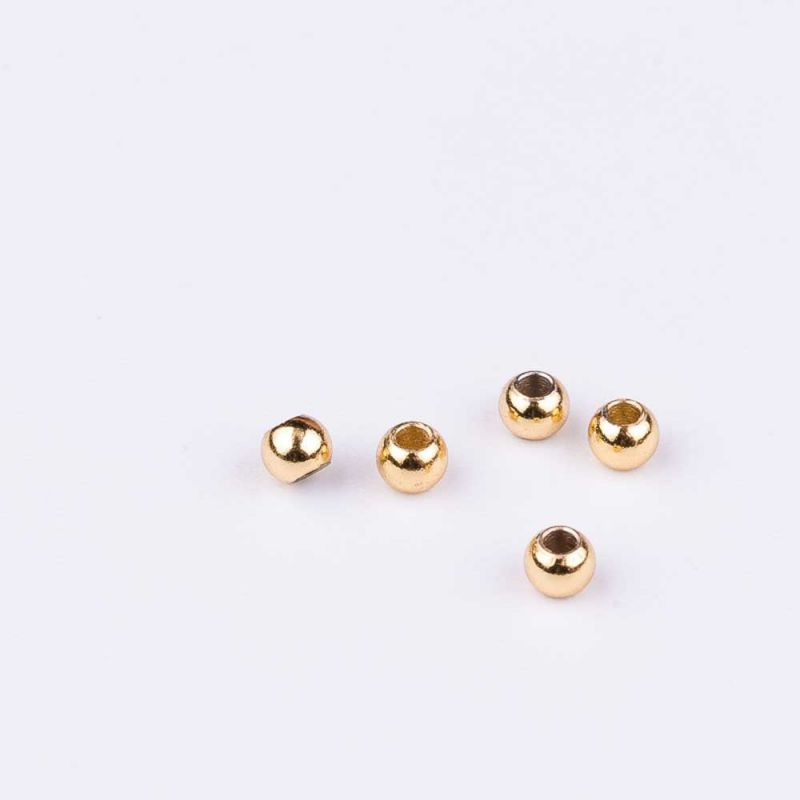 Bile inox 2.4 mm turnate auriu - 60 buc - magazinuldepietre.ro