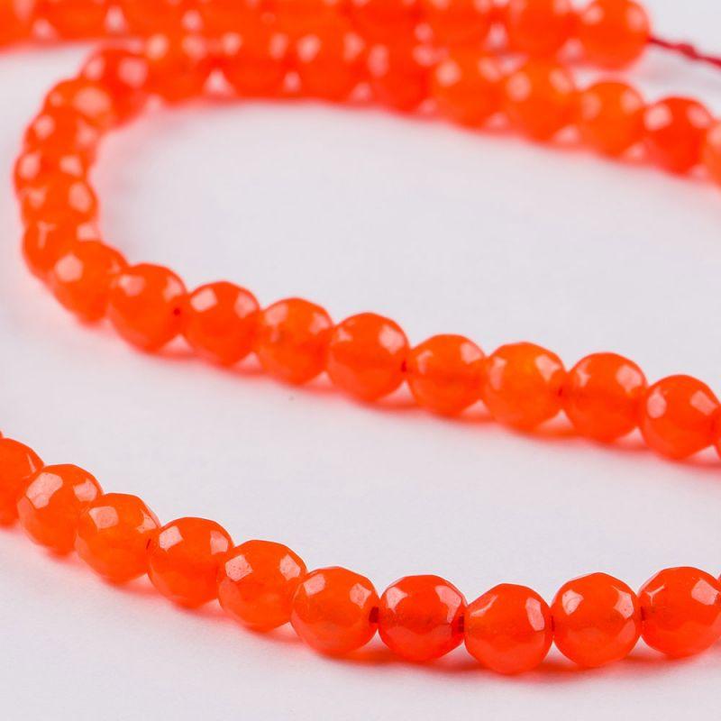 Agat portocaliu aprins sfere fatetate 6 mm