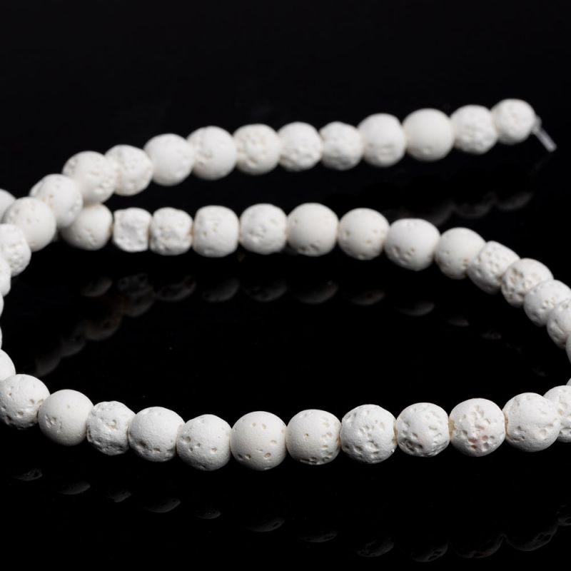 Lava alb sfere 8 mm - magazinuldepietre.ro