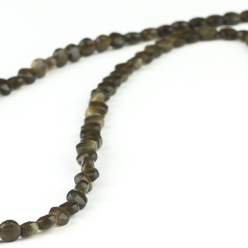 Obsidian rotund fatetat 2.5x4 mm