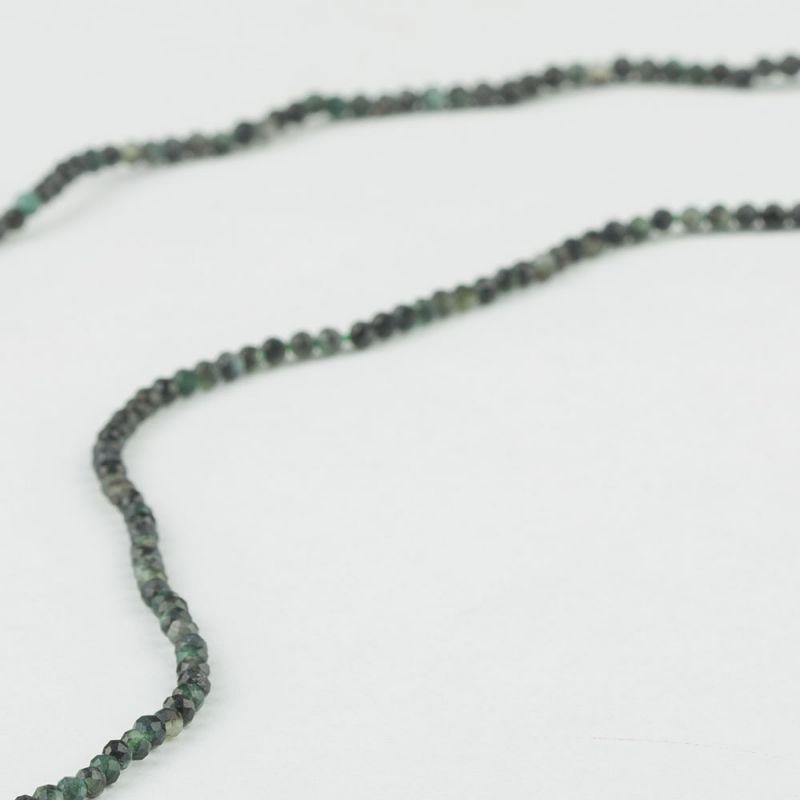 Smarald verde inchis sfere fatetate 2 mm