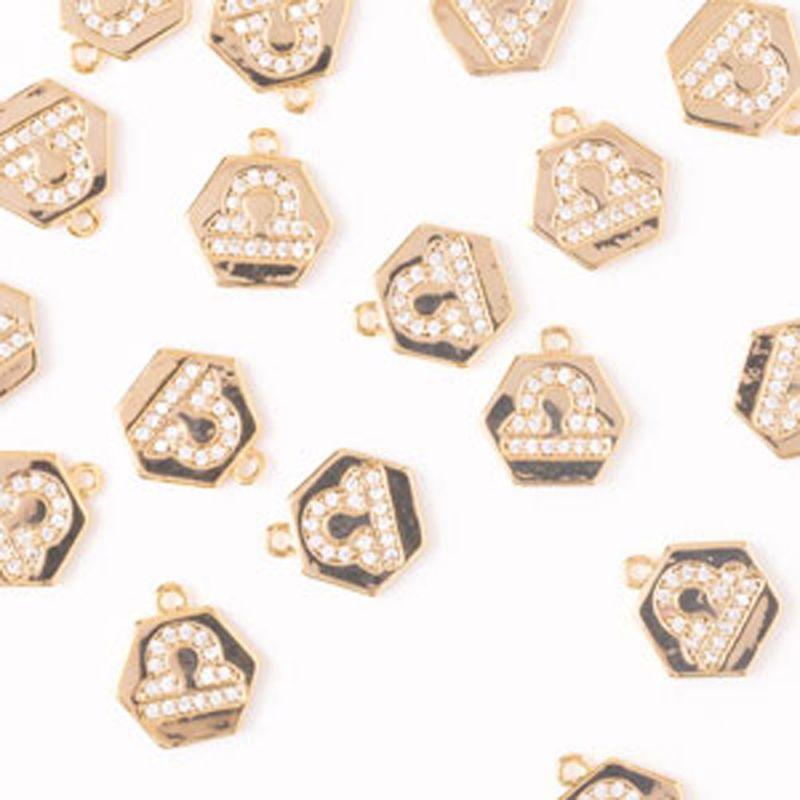 Charm hexagon balanta zirconia alb 10 mm auriu - 1 buc - magazinuldepietre.ro