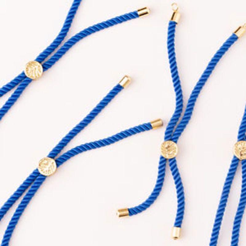 Baza bratara snur 3 mm albastru deschis terminatii aurii - 1 buc - magazinuldepietre.ro