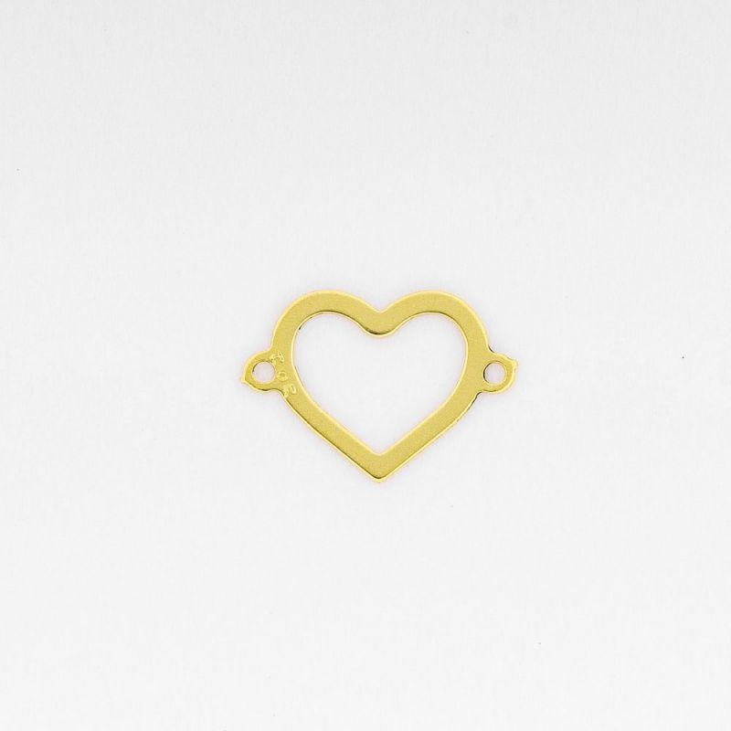 Link aur 14K inima contur 7.3x10.5 mm 0.08 g orificiu 0.8 mm - 1 buc - magazinuldepietre.ro