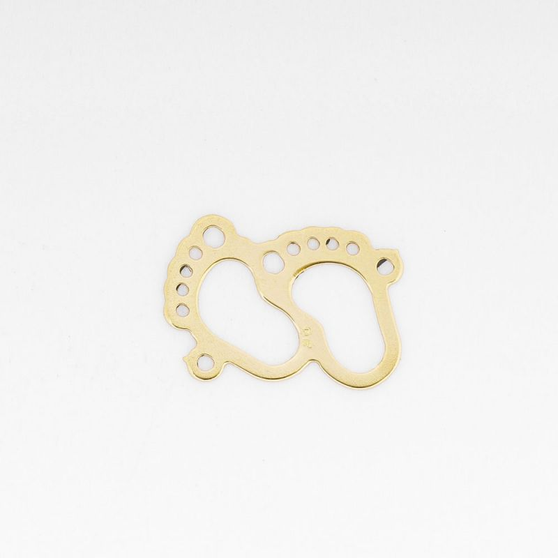 Link aur 14K baby footprint 8.4x12 mm 0.16 g orificiu 0.8 mm - 1 buc - magazinuldepietre.ro