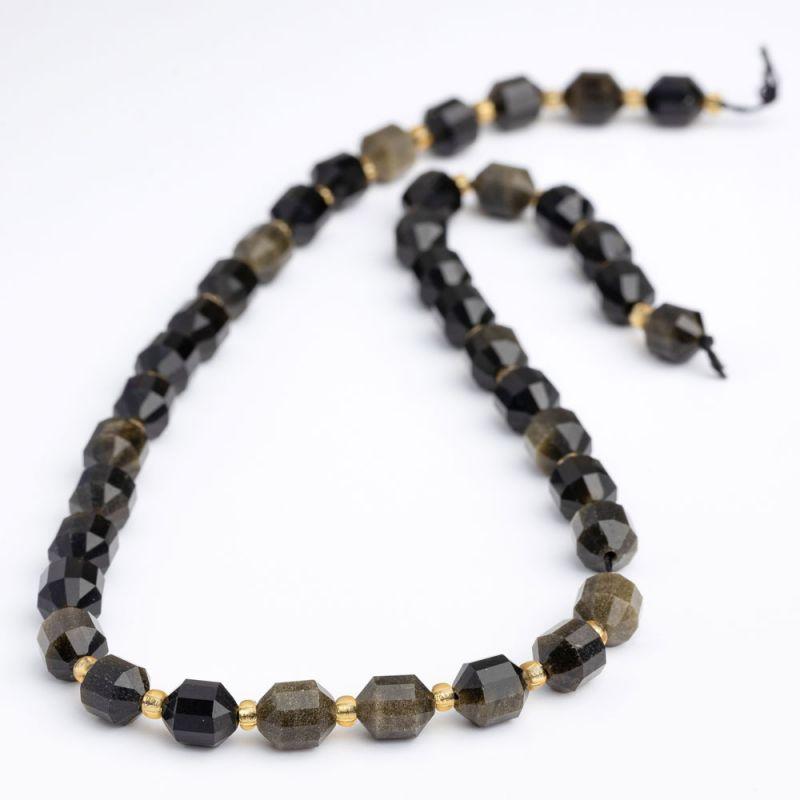 Obsidian auriu butoiase fatetate 8 mm - magazinuldepietre.ro