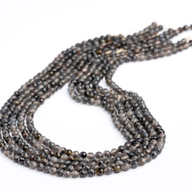 Obsidian de gheata sfere fatetate 4 mm - magazinuldepietre.ro