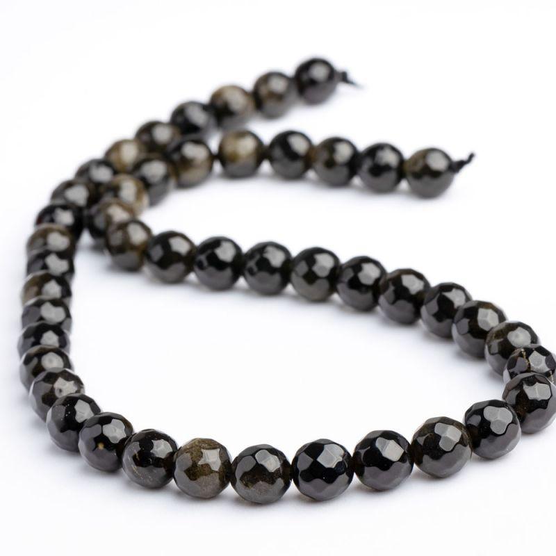 Obsidian sfere fatetate 8 mm - magazinuldepietre.ro